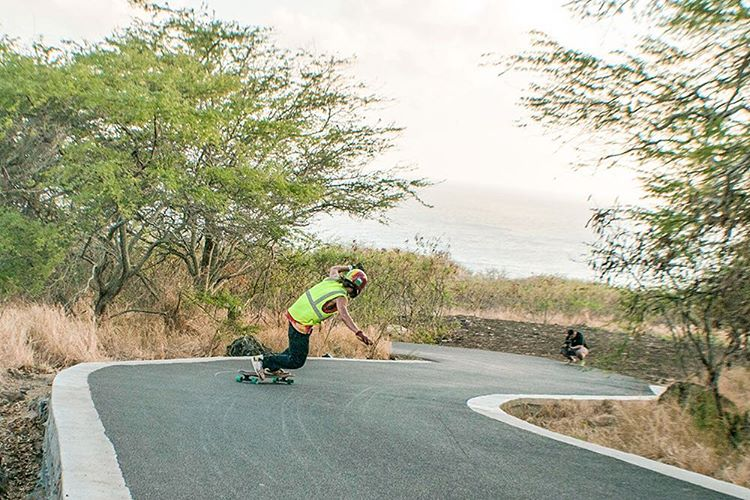 Bronson Lee (@bronsoniscool) enjoying the Hawaiian roads and weather on the Lunch Tray. #dblongboards #hawaii #pnw #longboard #skateeverydamnday #lunchtray #dblunchtray