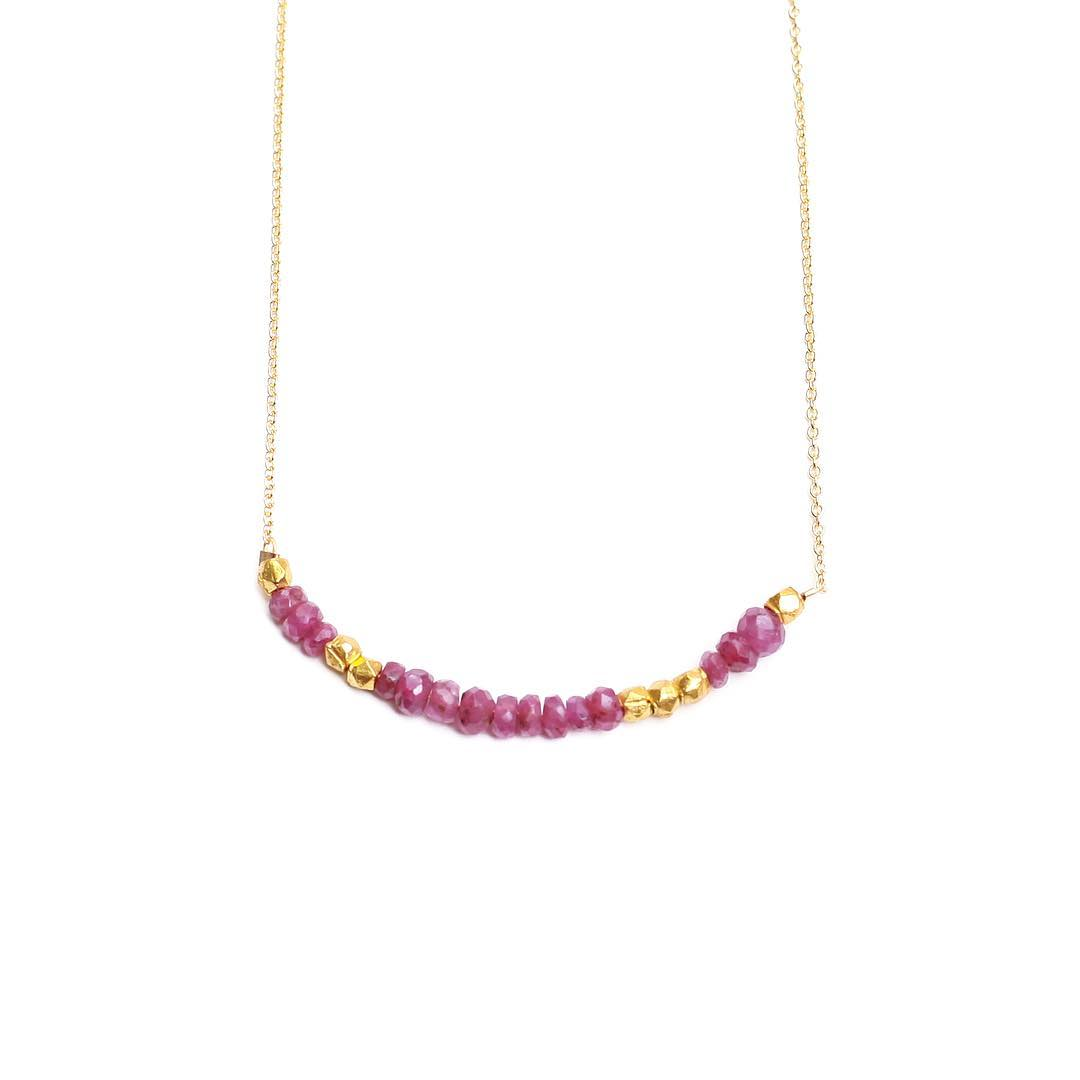 Raw Ruby Morse Code Necklaces. July's glorious birthstone.  Check online for your Birthstone now available in every code!