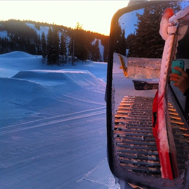 Early morning cat rides with @nicjacobson on #MtHood. #Sunrise #Snowboarding