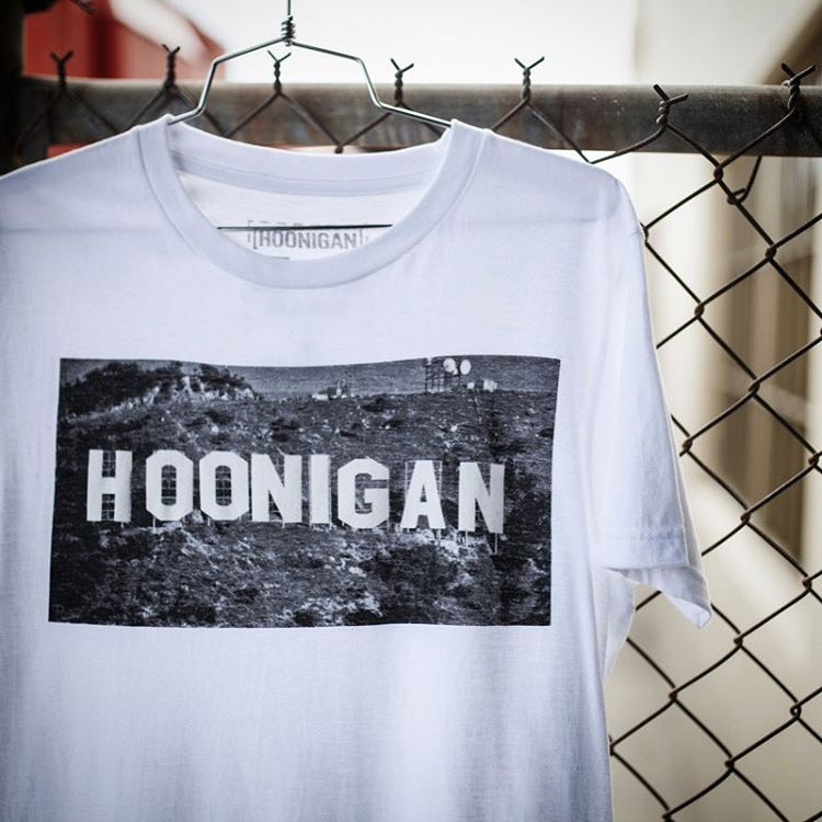 The Hooniganland tee is back and available now on #hooniganDOTcom. #landofburnouts