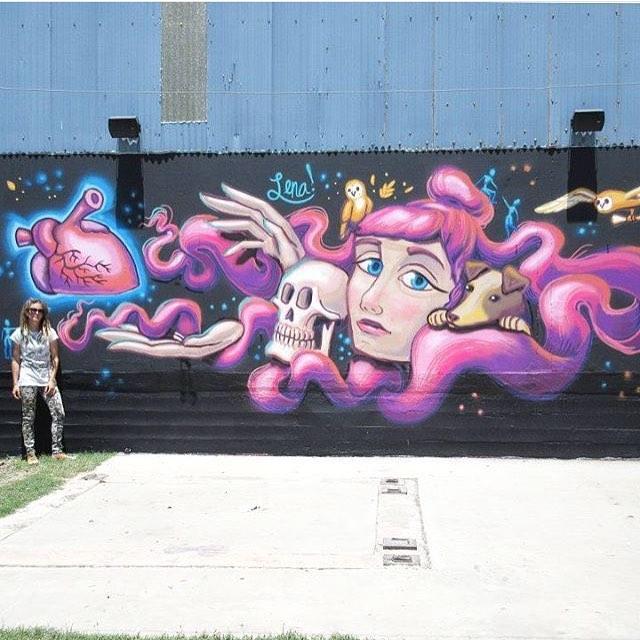 @lenatx • • New piece @hopsandgrain • • #atx #austintx #texas #tx #spratx #art #mural #lena