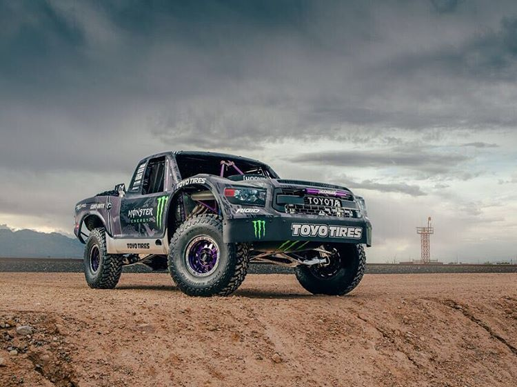 Tune into @bjbaldwin's Facebook page at 11am (PT) today to watch him tear around in his all new @toyotausa Trophy Truck. He will be taking hooning requests, so be sure to chime in on the comments.