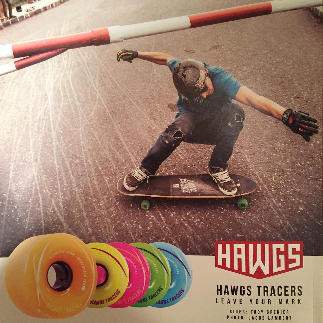 New @hawgswheels add on the back cover of @skateslate just out featuring @troy_yardwaste in some #pushcultureapparel #crashpants #skateslate #hawgswheels #hawgstracers