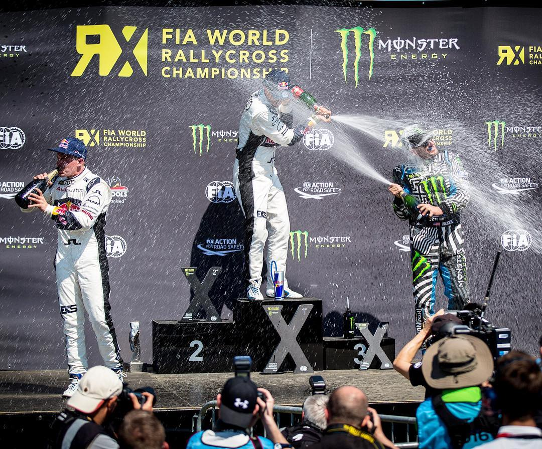 YES!! First @FIAWorldRX podium for me in the Ford Focus RS RX, in only its second race! Fought a very tough battle today coming from 12th to 3rd - more on that later. For now, champagne for me and the @HooniganRacing squad. #HockenheimRX #battlemode...
