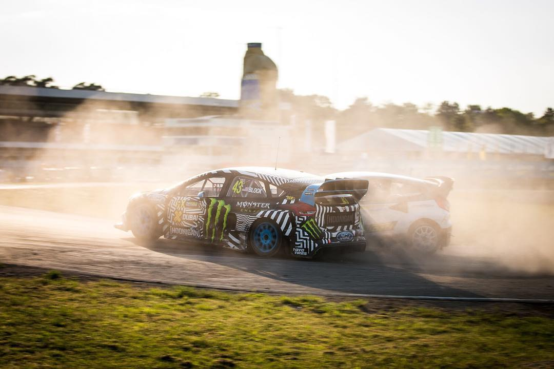 The battles are fierce at @fiaworldrx. @kblock43 putting his @fordperformance Focus RS to work this weekend. #rubbingisracing