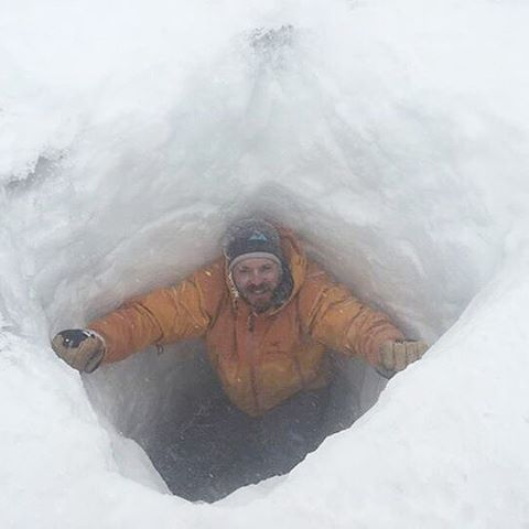 """I ended up digging a hole in lieu of climbing into a crevasse as I couldn't find any safe crevasses. Digging a 2 meter deep hole at 6,000 meters in a #blizzard was a challenge but with the help of Paul Byrne we got it done!"" - Daniel Akerman on..."