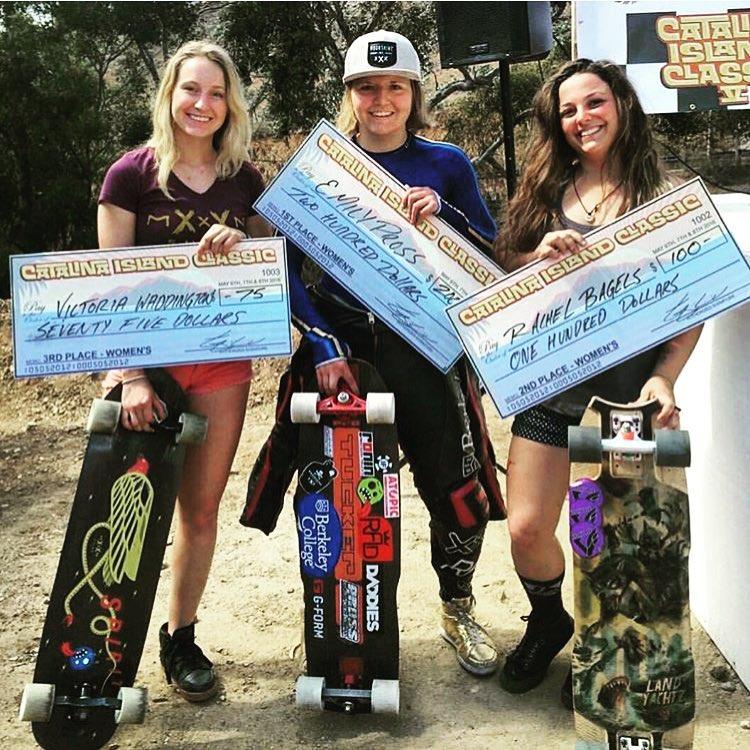 This weekend in Avalon, California! The Catalina Island Classic Women's Podium: 1. @emilylongboards  2. @skatebagels  3. @vwaddington_skates  4. @palaxa  Congrats ladies!  Repost @skatebagels  #longboardgirlscrew #womensupportingwomen #skatelikeagirl...