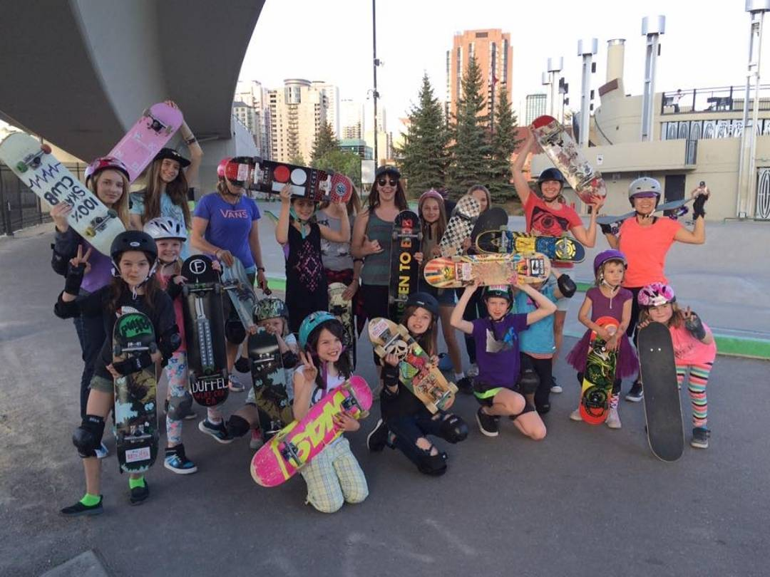 "Based out of Calgary, AB the @100percentskateclub is ""Built to shred, share, laugh, grow and push woman's skateboarding in Canada. 100%!!!"""