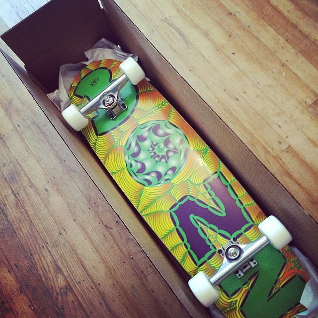 The Da Kine is headed to get reviewed by Skate Slate Magazine!  @SkateSlate she headed your way with the new @calibertrucks TKP trucks.  Have fun with her!  #adriandakine #adrian_da_kine_skateboard #skateslate #bonzing #review #sanfrancisco #skateboard...