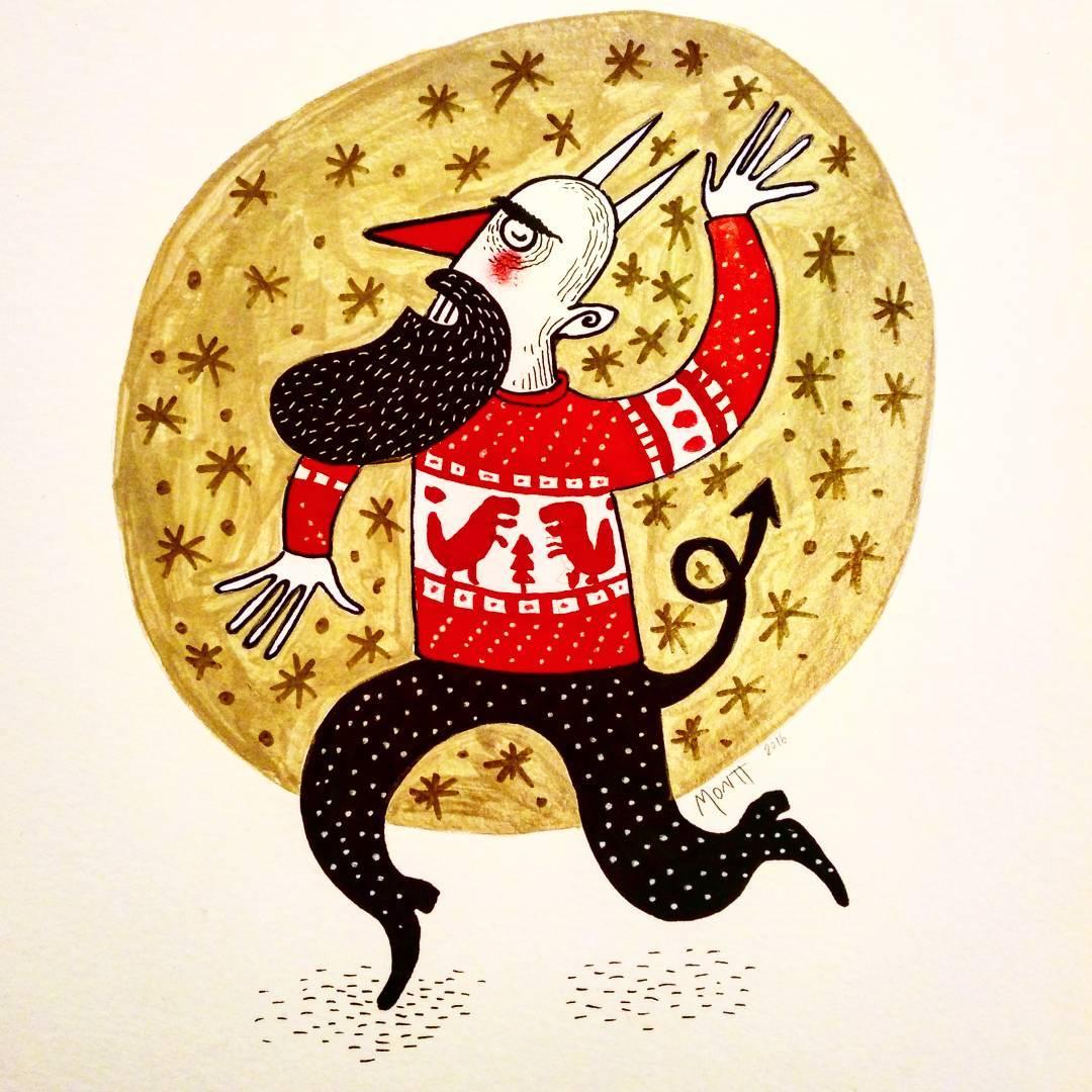 Con su sweater Feliz Navidad. Dibujo original de @albertomontt