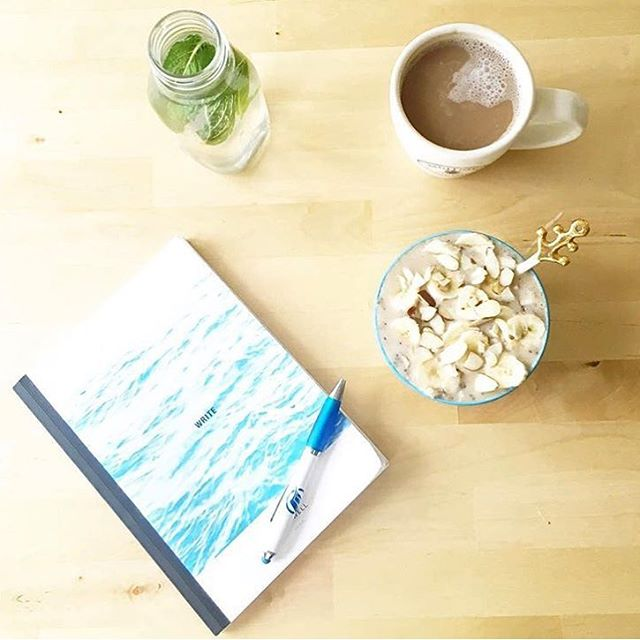 Morning rituals: caffeinate, hydrate, write. @cassandrabodzak shows us how. #goodmorning #selfcare #AllSwell