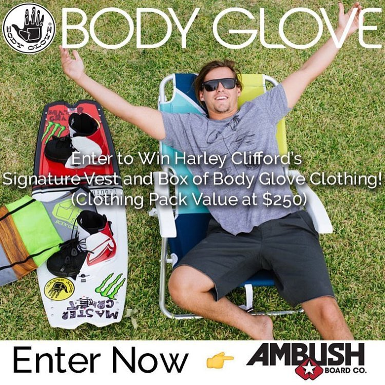 @ambushboardco is giving you the chance to win @harleyclifford's signature vest and a box of #bodyglove gear! Enter now at @ambushboardco