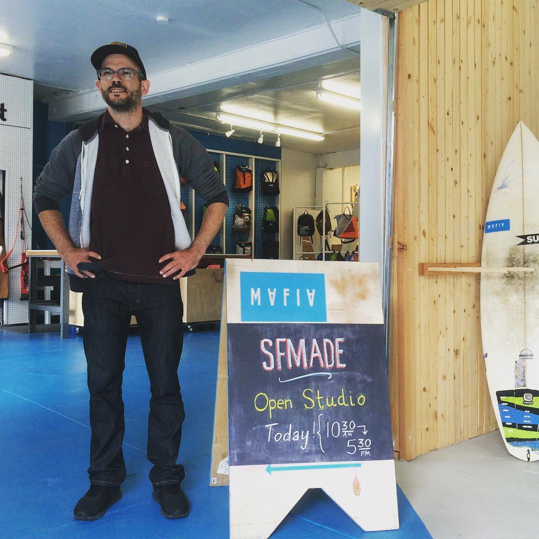 @sfmade week is here // we are celebrating local manufacturing in our studio. Today from 10.30am to 5.30pm ! Andrew, our workshop manager, will be cutting sails and showing how the magic happens.