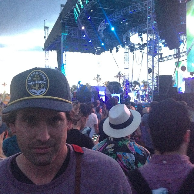 This is Sean, he builds guitars in laguna beach Ca. Wearing the Rio amazonas hat, watching Broken bells at Coachella 2. #cuipo #saverainforest #brokenbells #coachella