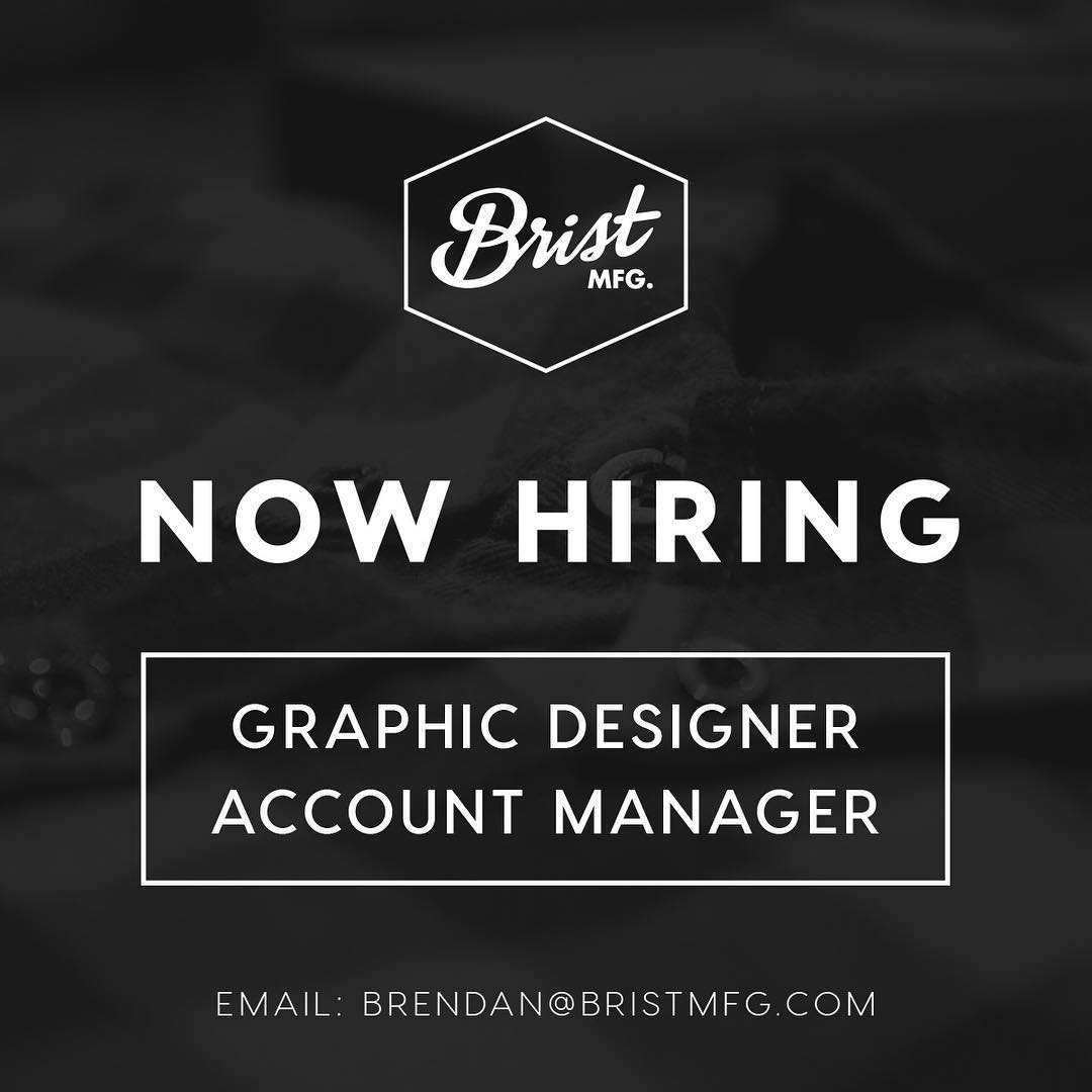 Our sister company is making a couple more hires! Come join our rad team // Tag your friends // Bellingham Based // @bristmfg #disidual #apparelmanufacturing #bristmfg #sendresumes
