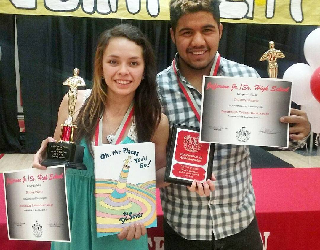 Our @lovelandskiarea participant, Destiny, got so many #awards at #school her boyfriend had to help hold them for the #picture ! Way to go