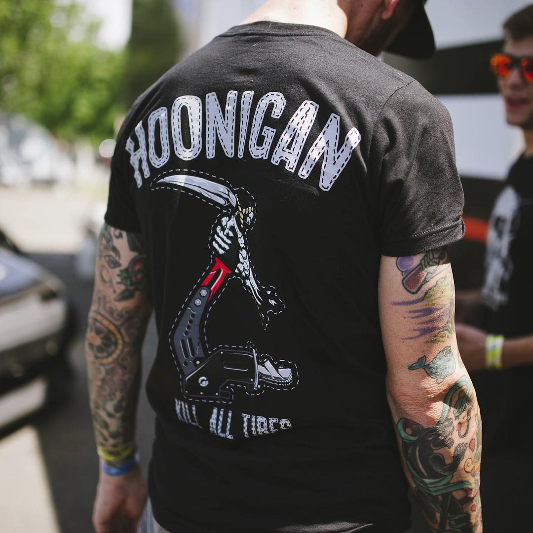 Gripping the hand brake, the Reaper tee. Available now, click the link in our bio for more! #hooniganDOTcom #killalltires