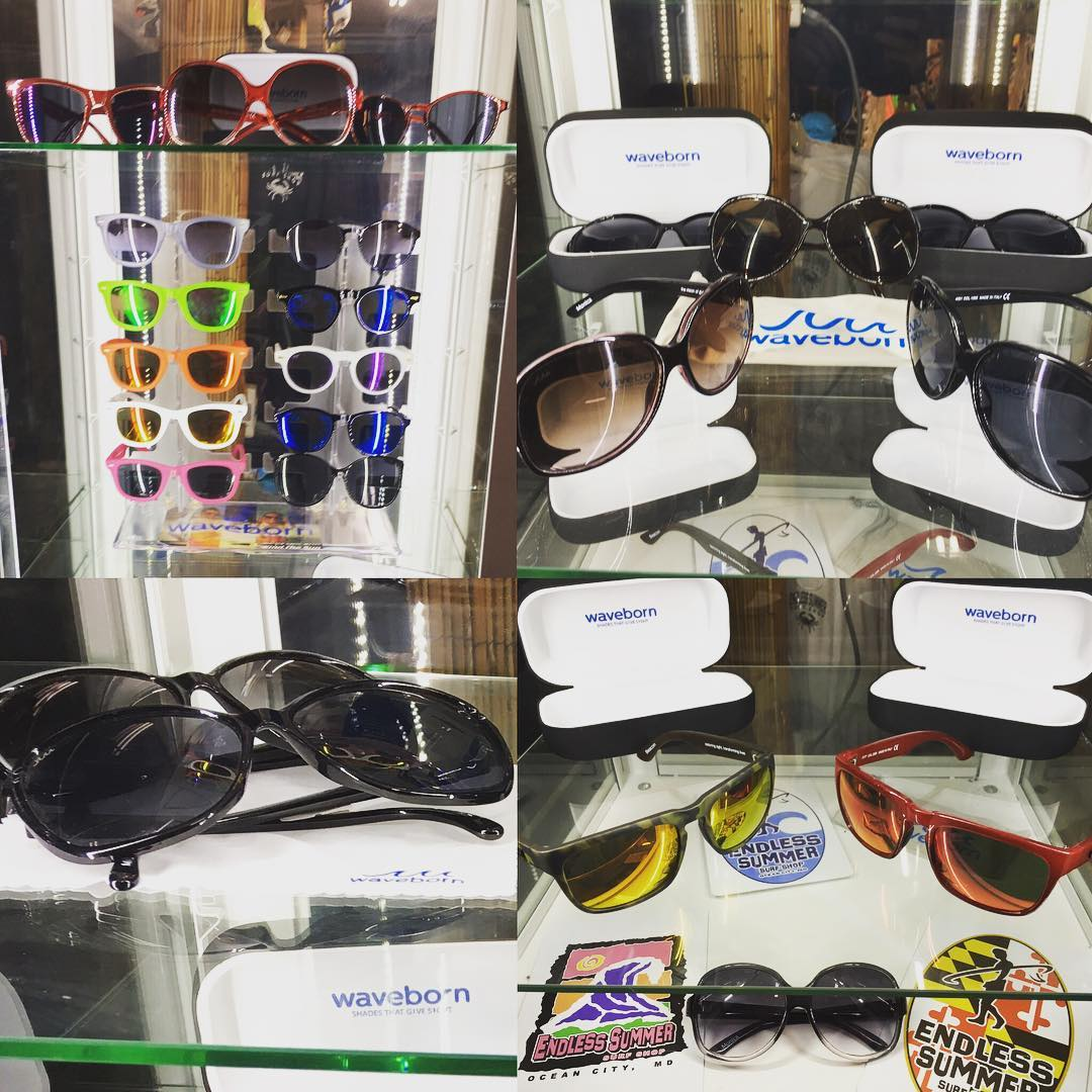 Your new #sunglasses are waiting for you in the #waveborn #display #case at @endlesssummeroc #givesight #findthesun #summer2016