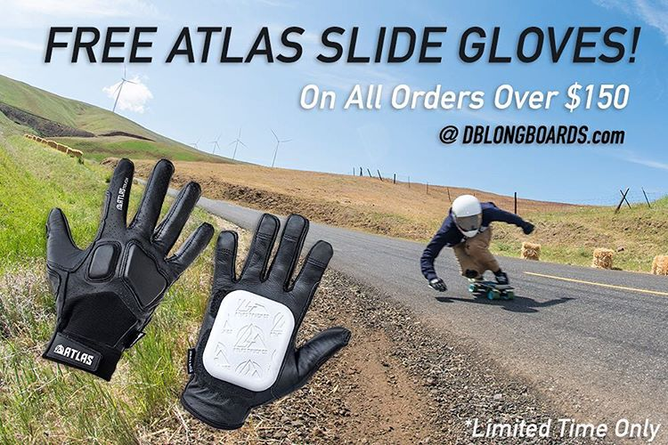 For a limited time we are giving away a free set of @atlastruckco Slide Gloves with every order over $150! #dblongboards #longboard #atlasgloves #longboarding #maryhill #freestuff #summer #downhillskateboarding #downhillskate