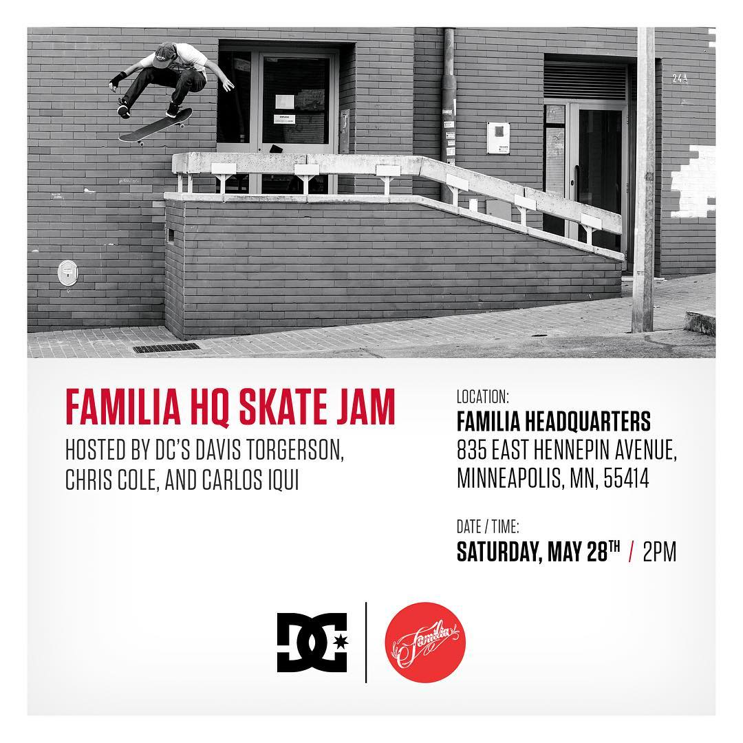Come out and skate at the @familiask8shop HQ with @davistorgerson, @chriscobracole, @carlosiqui on May 28th at 2pm. They'll be good times and lots of giveaways! #dcshoes