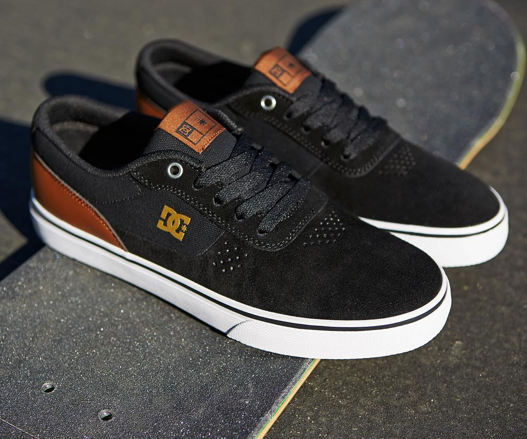 Clean toe, SUPER SUEDE, and a grippy vulcanized sole. The Switch S is now available in Black/Tan at your local shop and DCshoes.com #DCShoes
