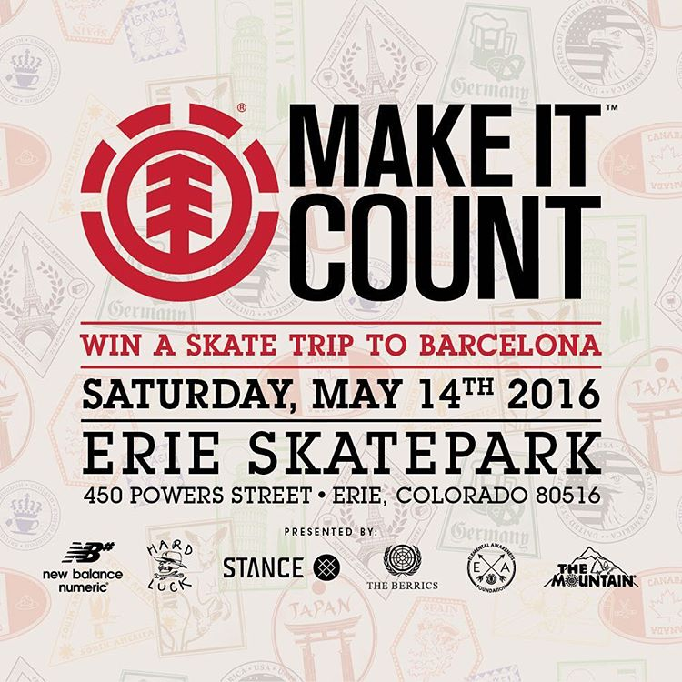 Join us this Saturday, May 14th,  for an #elementmakeitcount just outside of Denver at the Erie Skatepark! Winner of this contest will win a trip to the National Finals at Element Skate Camp, and a shot at an all expenses paid trip to Barcelona to film...