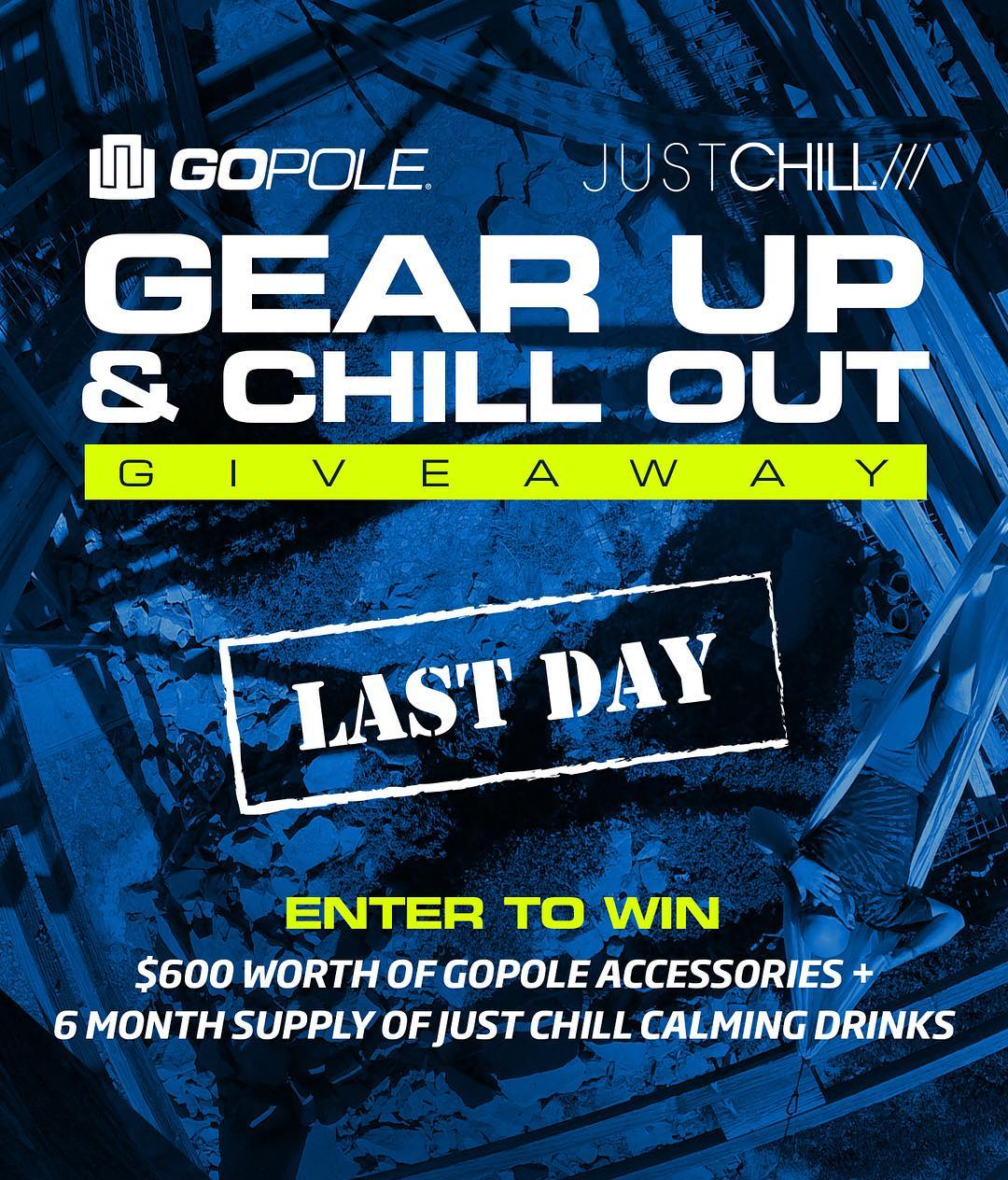 Last Day to Gear Up & Chill Out! Enter to win $600 worth of GoPole accessories + a 6 month supply of @justchill. Enter by clicking the link in our bio. #gopole #thechilllife #gearupandchillout