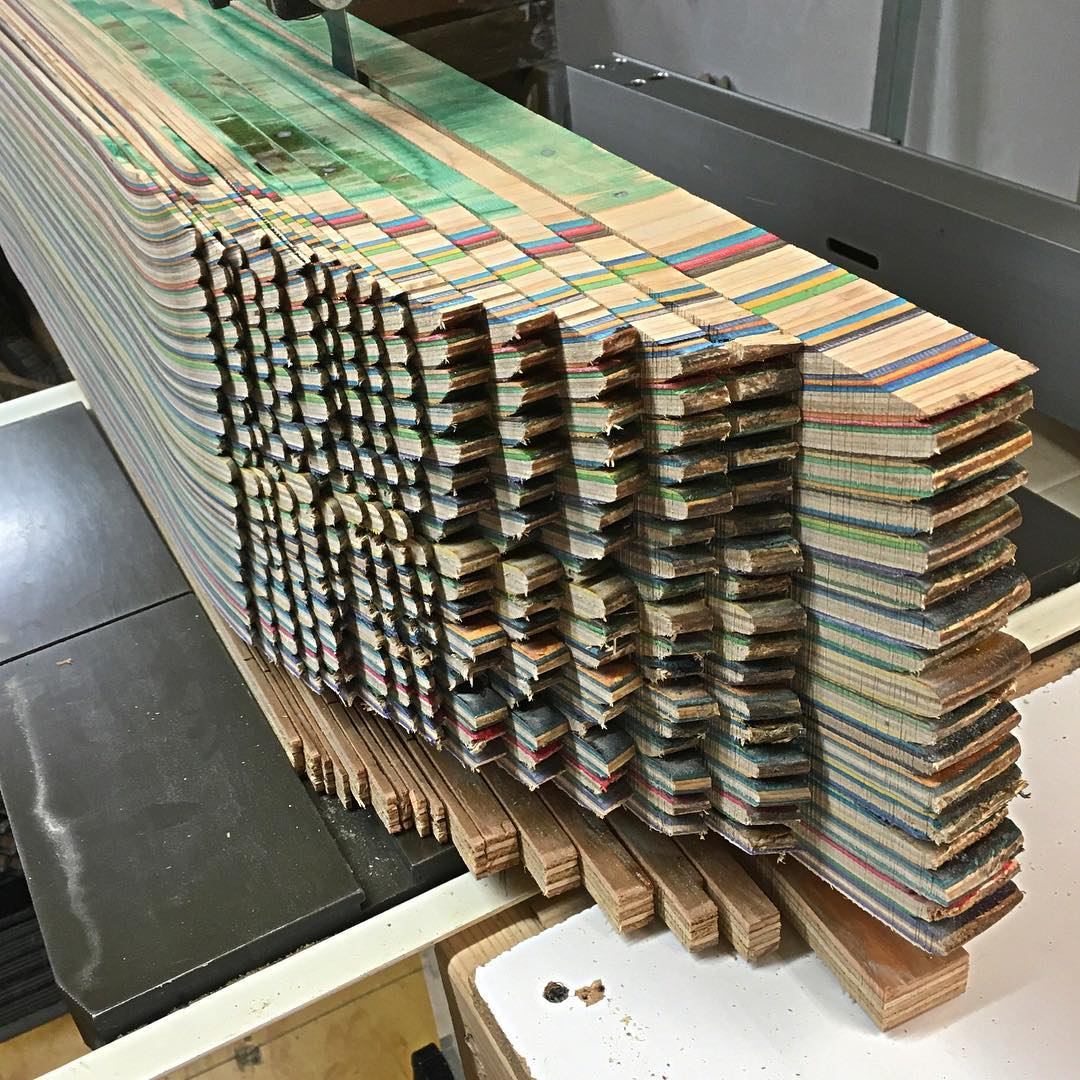 Cutting up another big stack of recycled skateboards to make more Iris tables, @iris_surfboards and of course @iris_skateboards #recycledskateboards #irisskateboards #irissurfboards #shoplifealldayeveryday