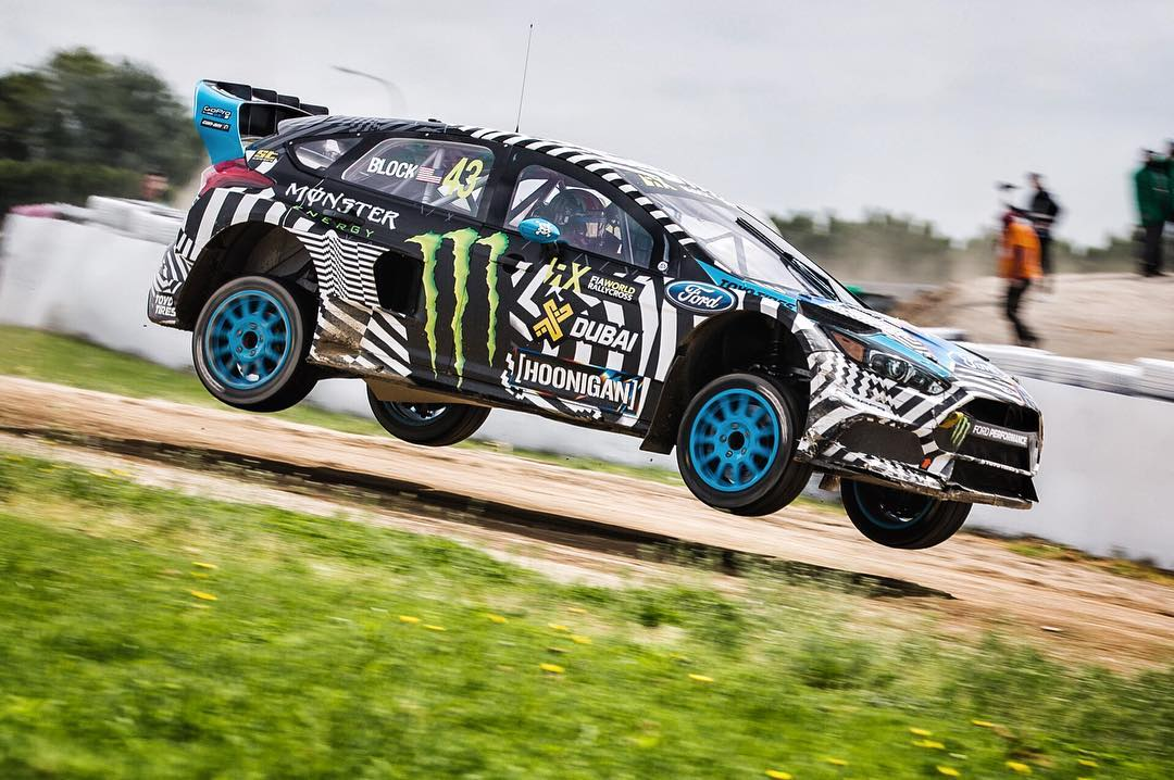 First real air time for the Ford Focus RS RX! She looks good with all four wheels off the ground. Shot during practice today at @FIAWorldRX round 3 in Mettet, Belgium. #airtimeisagoodtime #FordRallyX #FocusRSRX #MettetRX