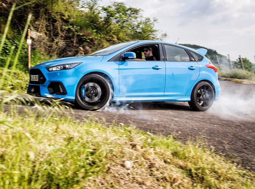 This photo makes me happy: all four wheels smoking on a hairpin in a new Ford Focus RS! Had some fun in this thing yesterday on one of the stage roads from WRC Germany. Great to see how well this car does on fun backroads. #HoonResponsibly #AWDFTW...