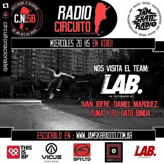 Mañana a las 20 hs no se pierdan el radio circuito estaremos todo el team Lab hablando de todo un poco #labskateboarding