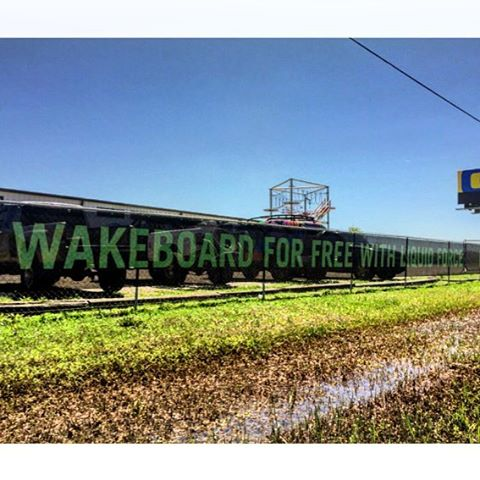 "The sign does not lie - ""Wakeboard For Free With Liquid Force"" - this Saturday at @wakenationhouston as Free For All rolls to town!  Come on out and ride with @tomfooshee, @gordonharrison & @raphderome all day!"