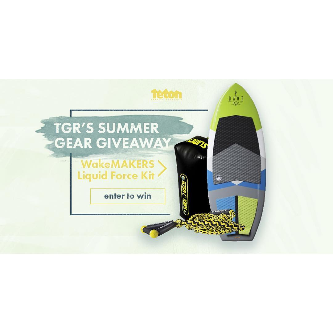 Enter to win a new LF Wakesurf setup today only from our friends @wakemakers and @tetongravity!  Link below and on our blog at LiquidForce.com  http://www.tetongravity.com/contests/summer-gear-giveaway/enter