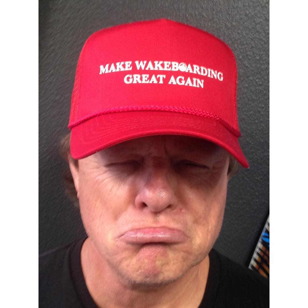 """Don't get Bern-ed... go wakeboarding!"" - Jimmy Redmon #MakeWakeboardingGreatAgain hats available NOW via link in bio"