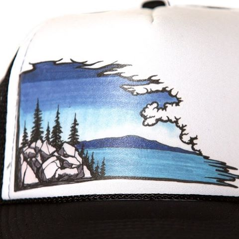 Cloudscape trucker hat, a solid choice with a nice simple piece of art. #risedesignstahoe #risedesigns #truckerhat #inspiredbynature #drivenbydesign #lake #mountains #trees #tahoetribe