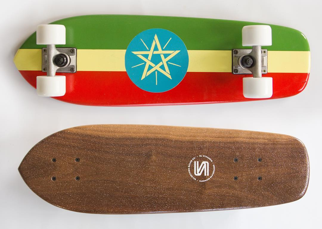 Custom painted Ethiopian board we did that's about to cross the Atlantic.