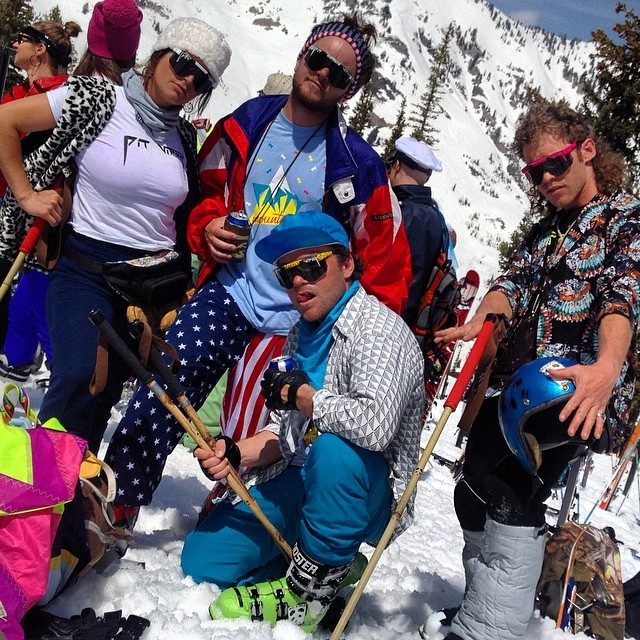 "Pit Viper/Panda Poles... #partymountain  Party Mountain in full effect yesterday at Alta's ""High Boy"" Party... Chuck Mumford, Chris Garcin, Miss Claudia, and TanSnowMan spread the vibe high in the Wasatch... #TRIBEUP Alta!  Photo:..."