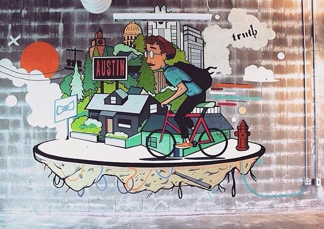 @mikejohnstonartist for @favor_atx • • #atx #austintx #texas #tx #art #mural #truth #spratx #paint #favor