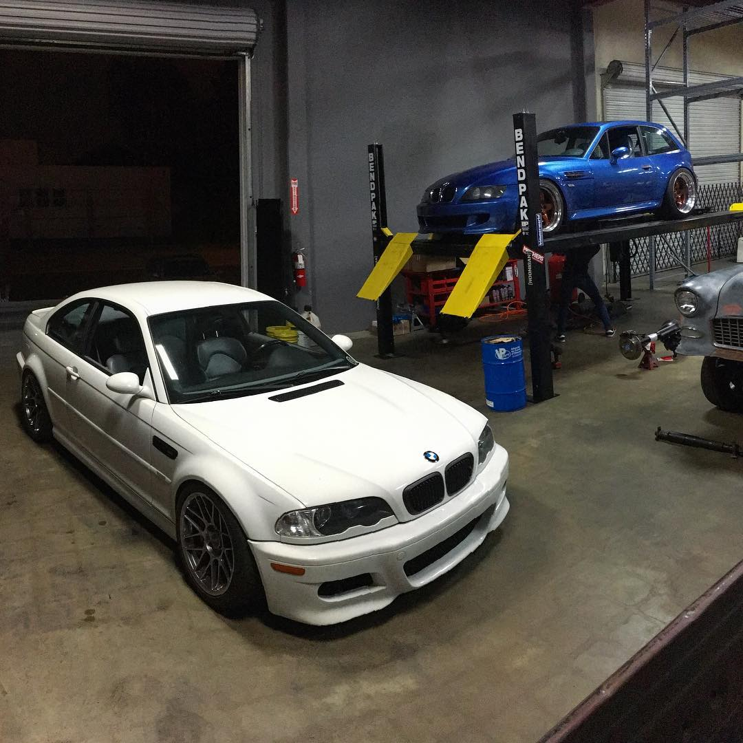 Saturday nights at the #donutgarage. Suspension sorting on Marketing Coordinator @vin_tra's M3 and some maintenance on @gnarlycreature's M-coupe.