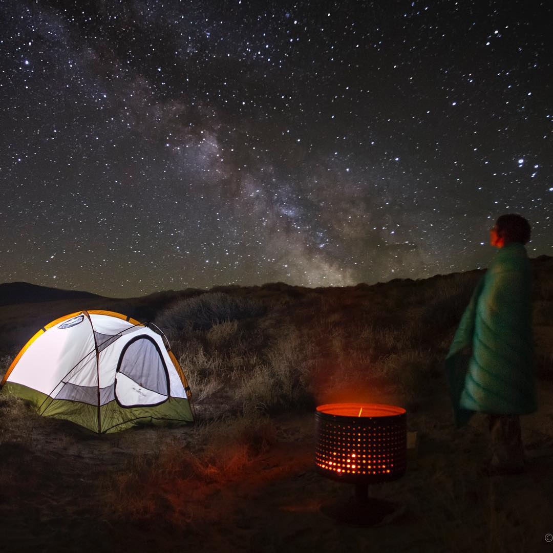 Stargazer tip, leave a glowing light on in tent so you can find your way back after exploring the galaxy. #howtonevada