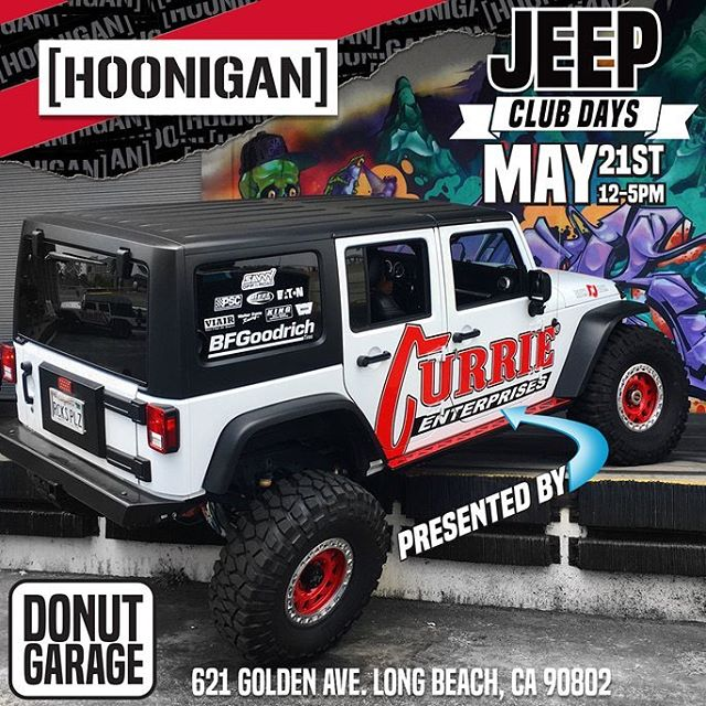 JEEP CLUB DAY! This Saturday our buddies at @currieenterprises are taking over the Donut Garage flexing (literally) some really rad trail rigs. Who's coming? ______ 12-5pm 621 Golden Ave  Long Beach, CA90802