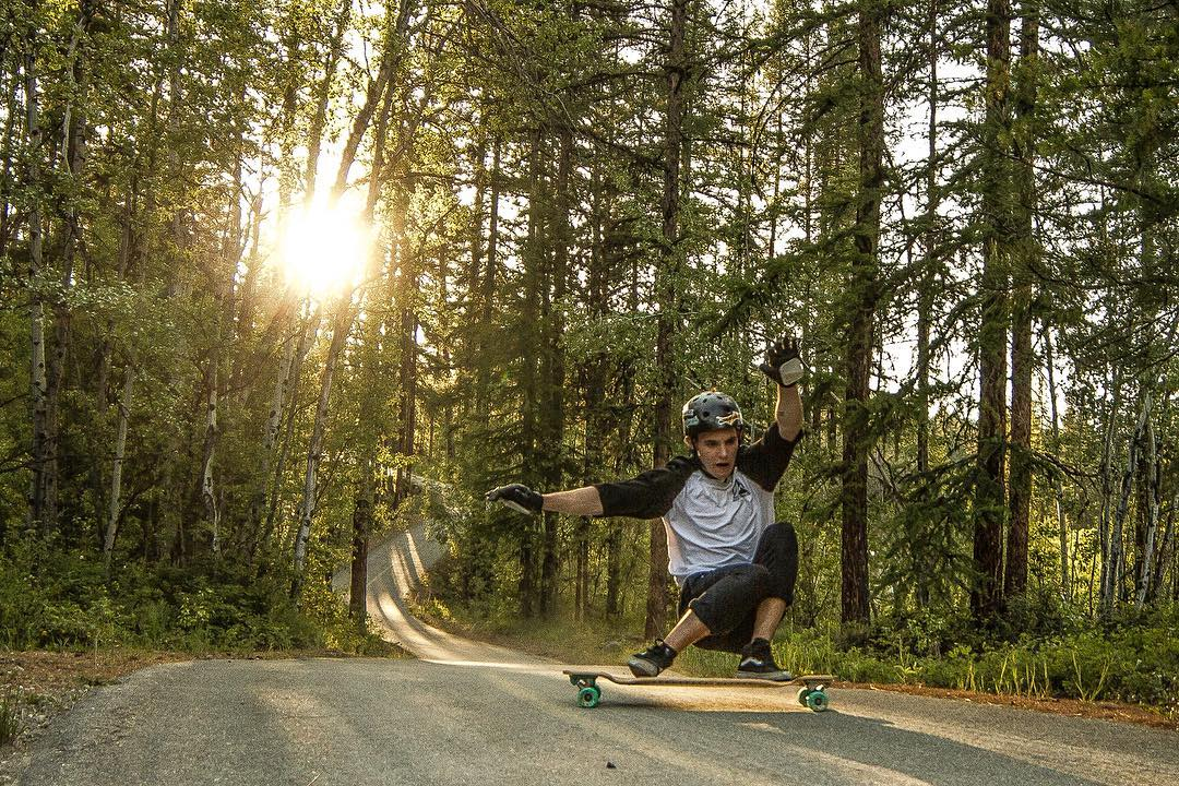@aidan_gilbert out for a rip on the Contra! (Photo by @keichlopan) #dbcontra #longboard #goldenhour #natureporn #dblongboards #downhillskateboarding