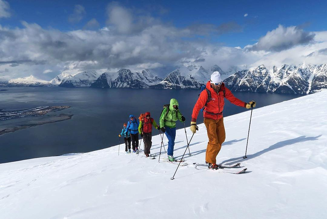 DPS Mountain Ambassador Christian Cesa leading a party up Lyngen Alps in northeastern Norway on the Tour1 Cassiar 95 #DPSTourtime #DPSAmbassador