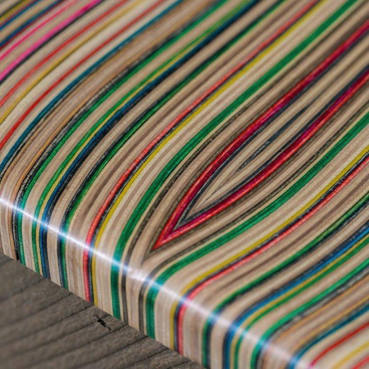 It's hard not to get lost in the details when you work with recycled skateboards. The colored lines alone on this countertop are enough to stop you in your tracks. #recycledskateboards #irisskateboards #shoplifealldayeveryday