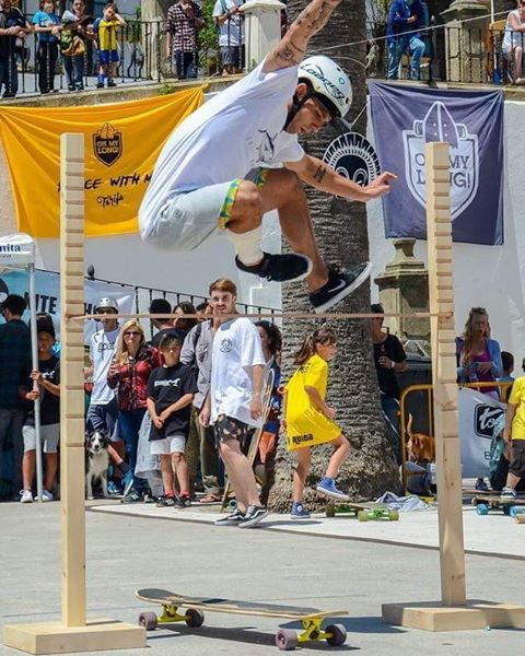 #LoadedAmbassador @marcosvillefort sending it during a hippie jump contest in Spain.  #LoadedBoards #Bhangra #Flex2 #Longboard #Orangatang