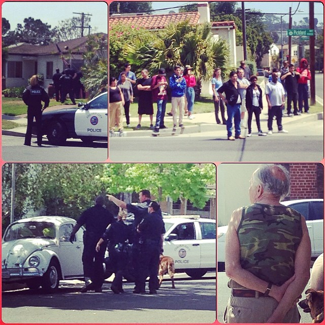 Just another day in the hood of LA. Cops cornered some burglars, but everything was safe once Major Mayhem showed up in his camouflage tank top. #culvercity #loadedboards #orangatang