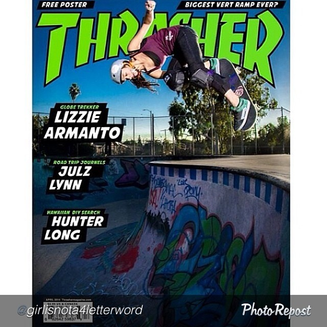 "Yes, it would be nice. by @girlisnota4letterword ""Repost from @kenhada ""Wouldn't it Be Nice..."" @_lizziearmanto on the cover of Thrasher. Remember what Anne Marie said in BLUE CRUSH? ""What do I want? I want a GIRL to be on the cover of a surfing..."