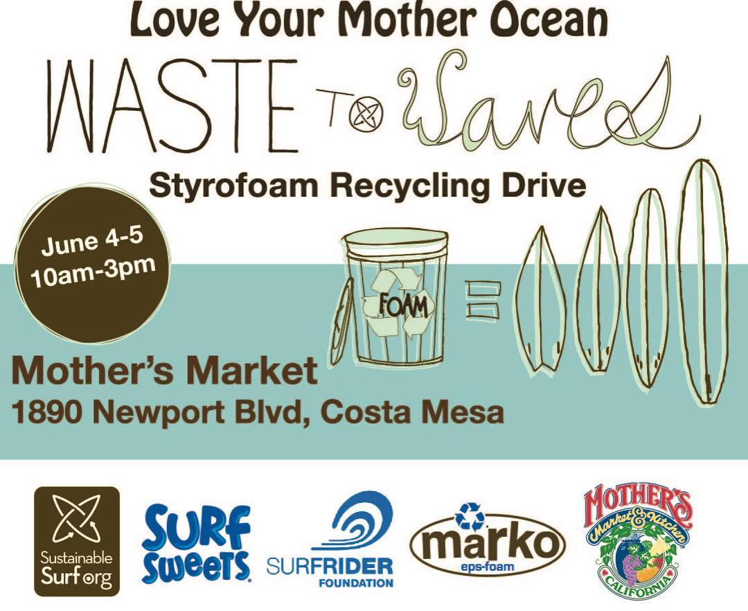 Kick off your #WorldOceansDay celebrations and help @sustainsurf @surfsweets and @surfrider protect the ocean from plastic pollution! Bring your styrofoam packaging material to @mothersmarkets June 4-5 to be recycled and made into new surfboards....