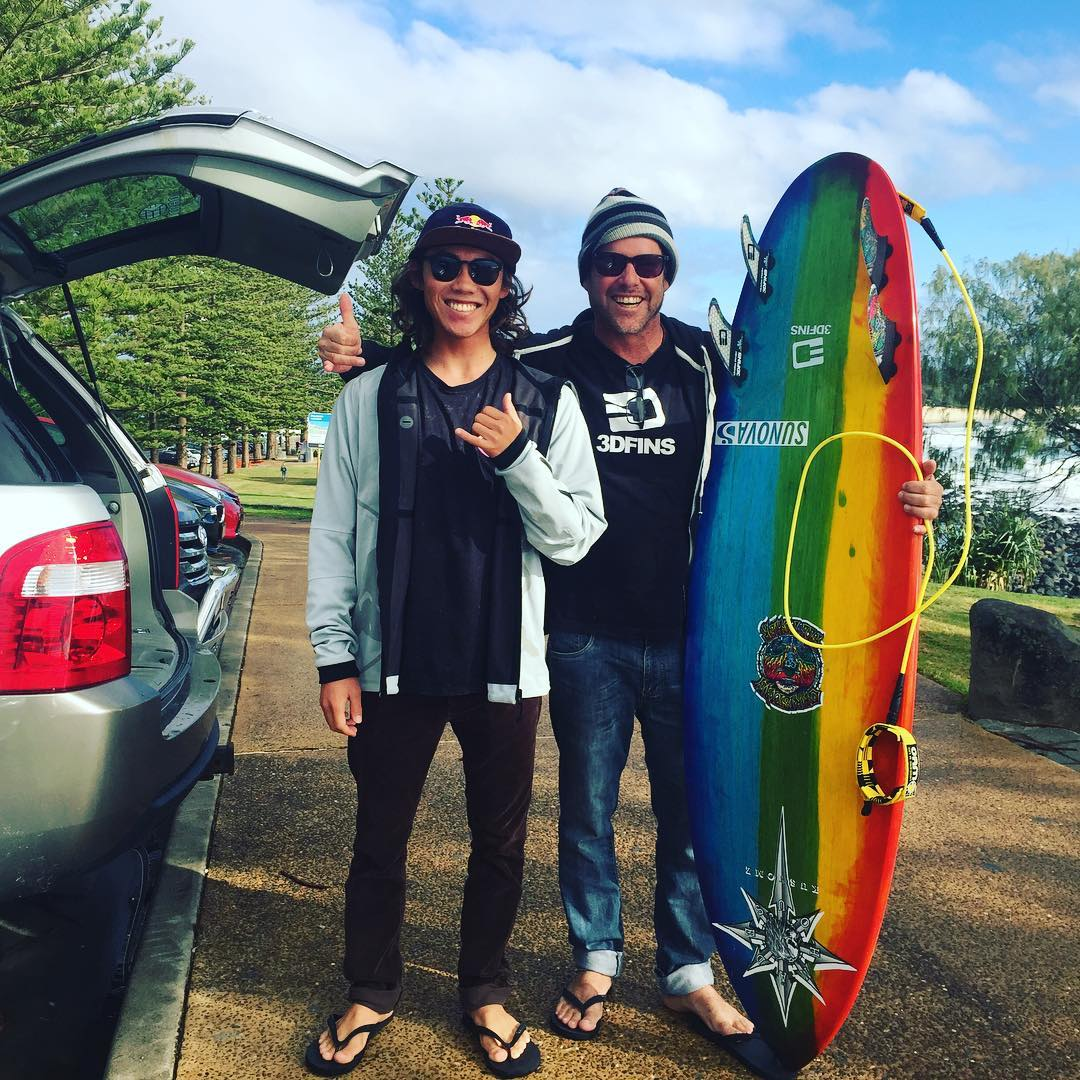 Hiroto and Courtney Potter before a Burleigh session today.