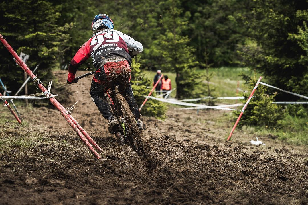 Sick shot of  @finniles  sliding it into 1st spot at the DH yesterday in #LesGets #SixSixOne #661Protection #Crankworx Photo  @davetrumporephoto  #ProtectFun